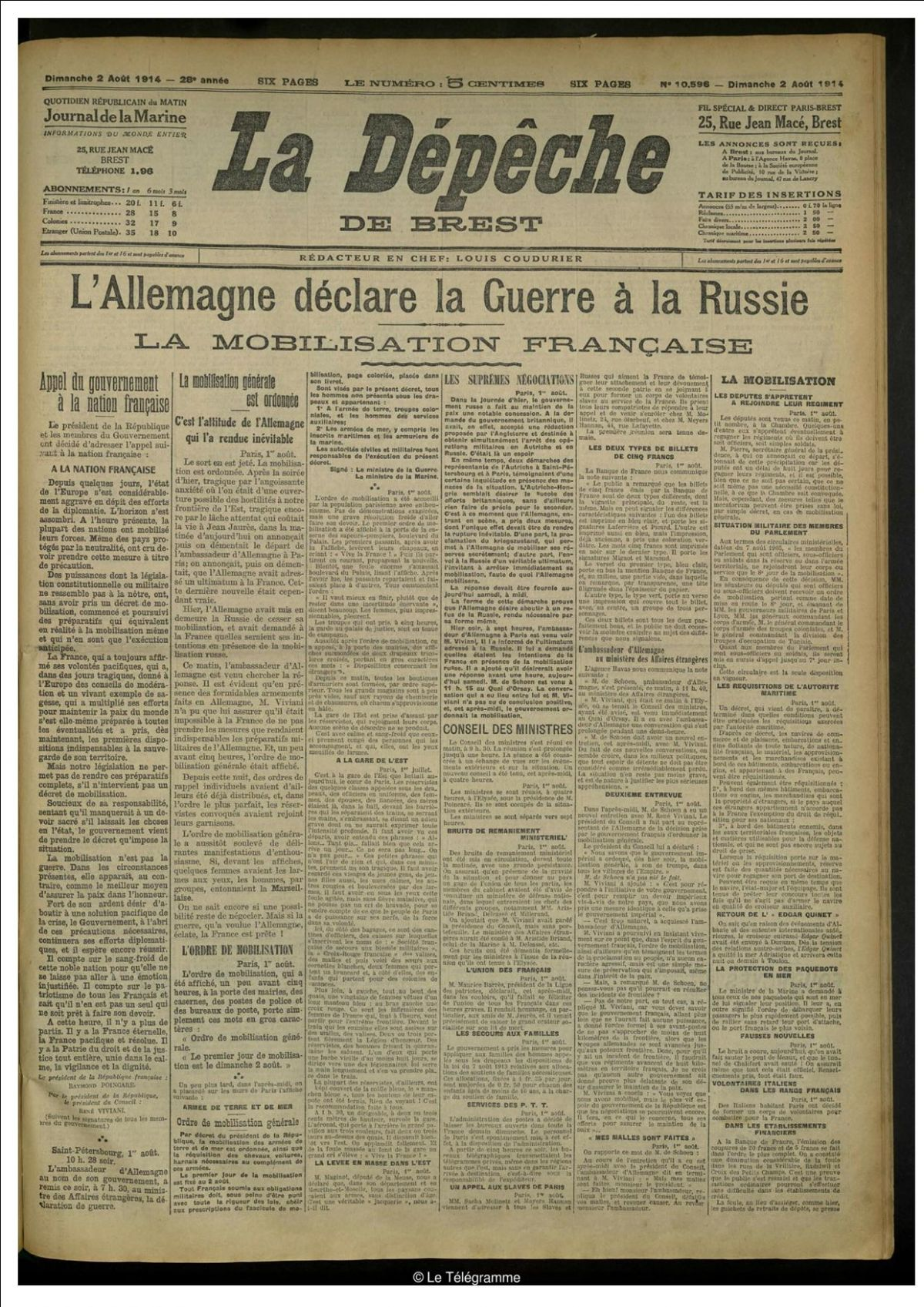Dépêche de Brest 2 août 1914