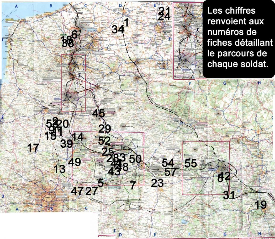 Sur cette carte, chaque numéro représente un soldat de Pont-de-Buis lès Quimerc'h mort.  Les numéros renvoient à l'ordre de classement dans le livret reprenant en détail leurs parcours.