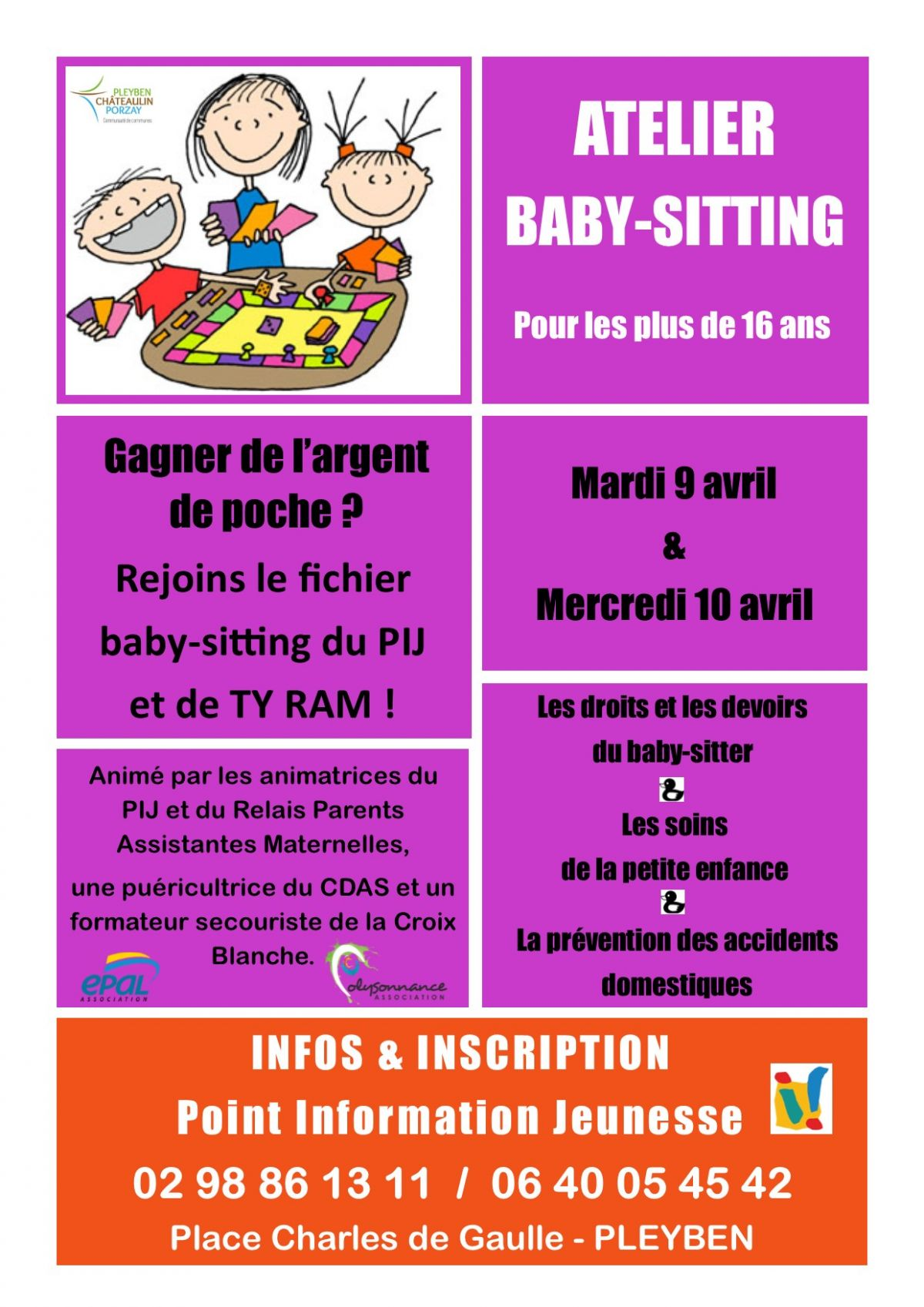 PIJ - 2019.04.09 - atelier Baby Sitting Pleyben 9 et 10 avril 2019