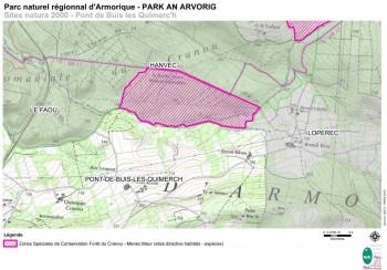 site natura 2000 Forêt du Cranou Menez Meur Carte PNRA