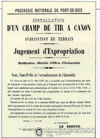 Champ de tir, jugement d'expropriation Archives de la poudrerie