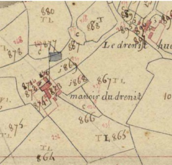 Manoir du Drenit, extrait du cadastre napoléonien de Saint Ségal Archives départementales du Finistère