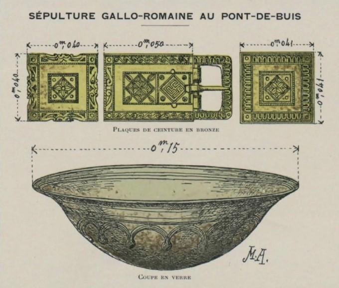 Sépulture gallo-romaine - Dessins du chanoine abgrall, bnf, issue du bulletin de la société archéologique du Finistere, 1911
