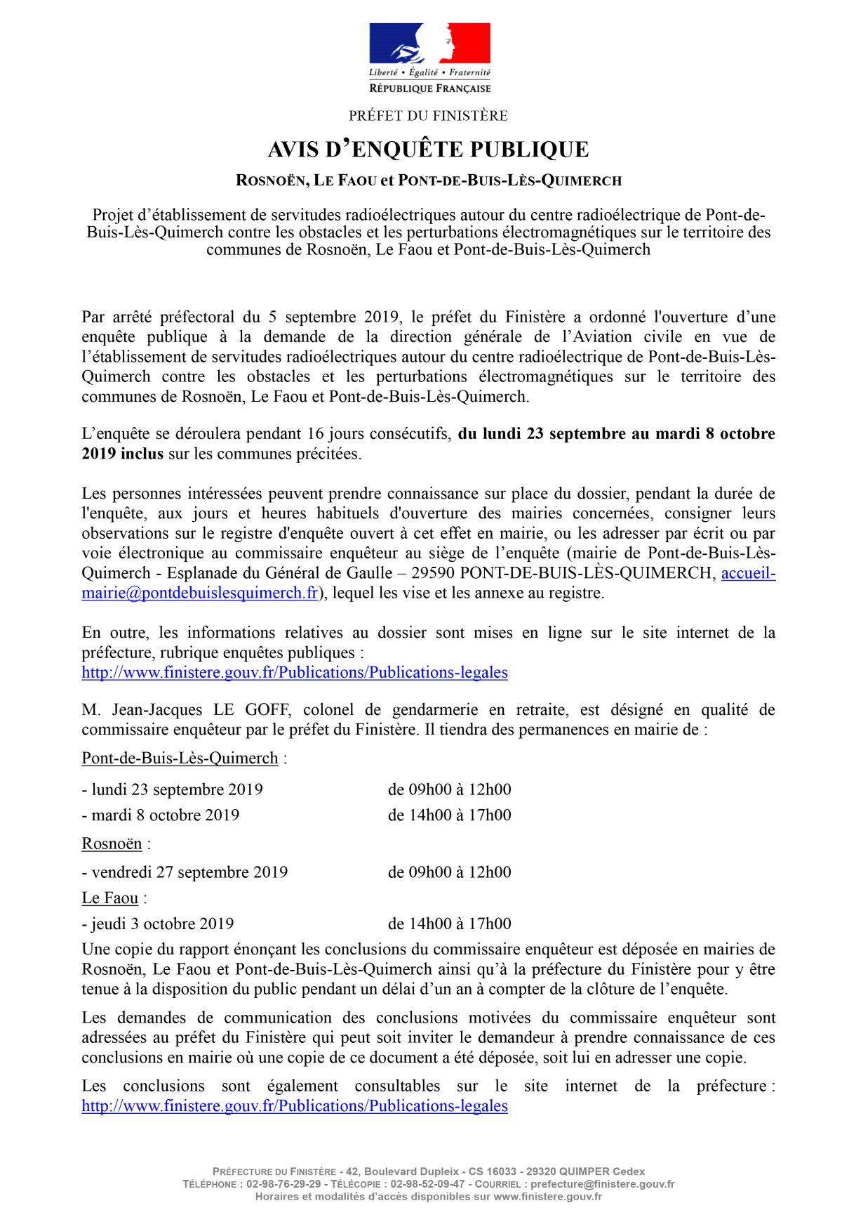 Courrier Electronique SIRP. PREFECTURE DU FINISTERE