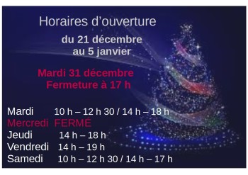 horaires de vacances noël 2019